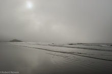 lonely, beach, fog, Pacific Rim National Park, British Columbia, Canada, Schooner Cove, sun