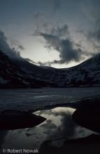 Lawn Lake, Rocky Mountain National Park, Colorado, sunset, frozen