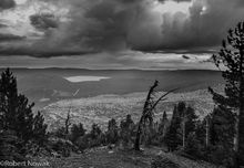 thunderstorm, Obsidian Flow, Newberry National Volcanic Monument, Oregon, afternoon