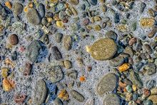 Bubbles, rocks, Dungeness National Wildlife Refuge, Washington, waves, stones