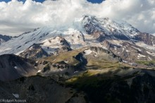 Mount Rainier, Mount Rainier National Park, Washington, summit, clouds, Burroughs Mountain
