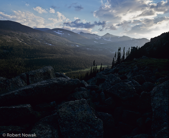 Mummy Range, Rocky Mountain National Park, Colorado, sunset, Stormy Peaks Pass, rays, photo