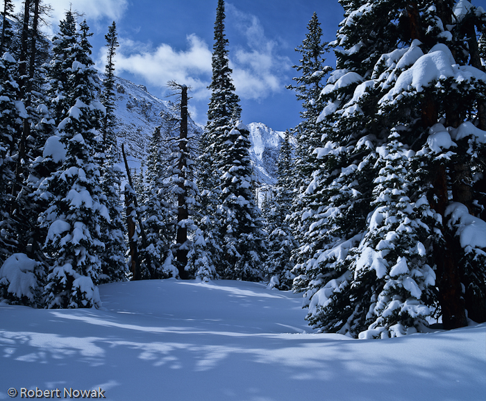 Loch Vale, Rocky Mountain National Park, Colorado, winter, landscape, snowfall