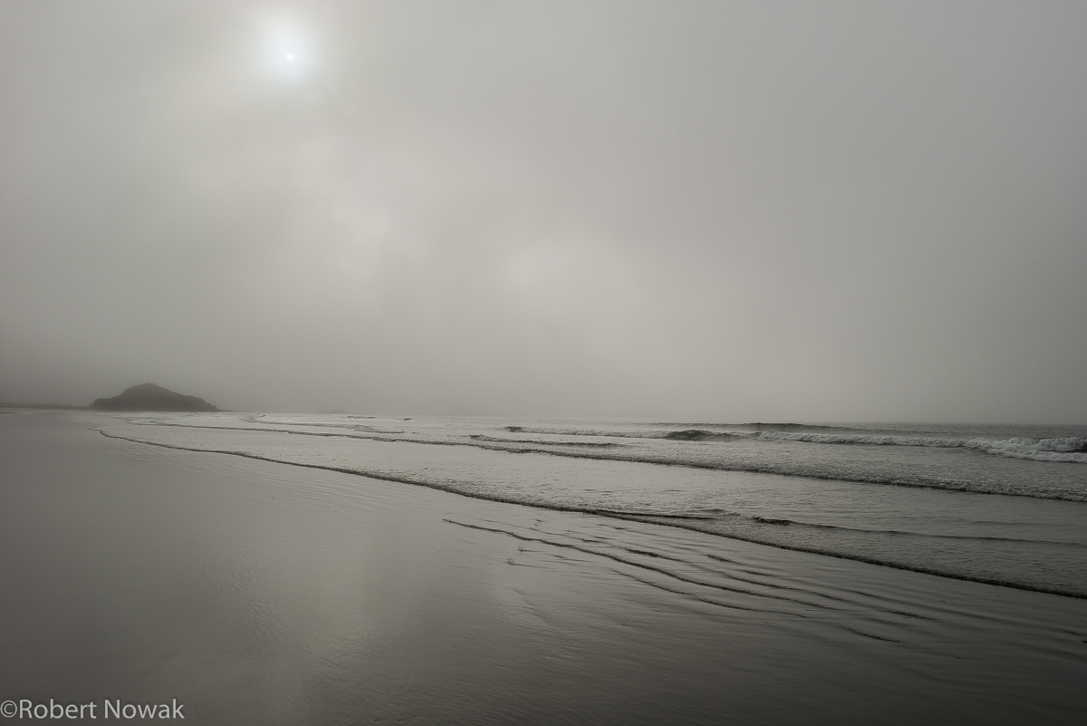 lonely, beach, fog, Pacific Rim National Park, British Columbia, Canada, Schooner Cove, sun, photo