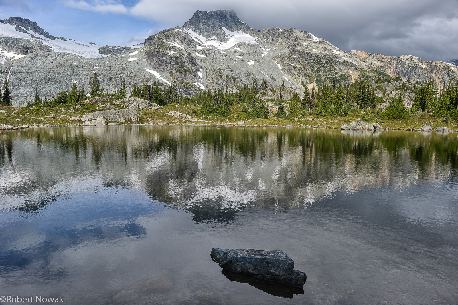 Face Mountain, British Columbia, Canada, Semaphore Lake, reflected, photo
