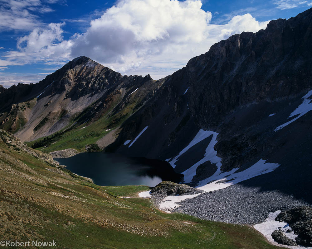 Looking down on Capitol Lake from an unnamed pass in the Maroon Snowmass Wilderness