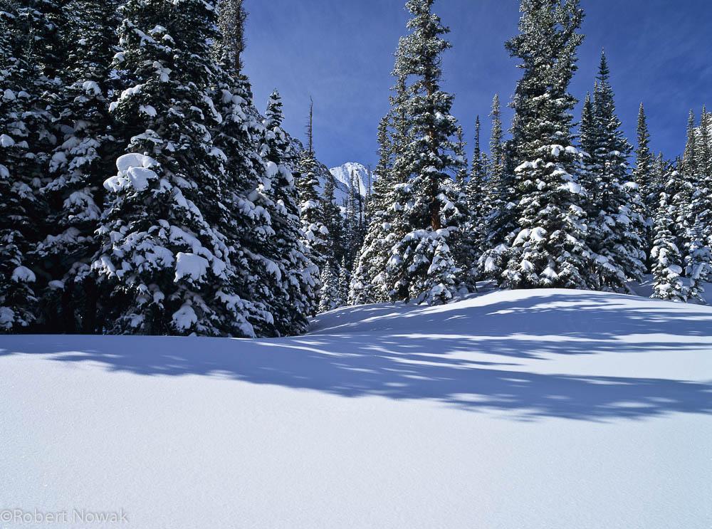 Loch Vale, Rocky Mountain National Park, Colorado, snow, winter, landscape, photo