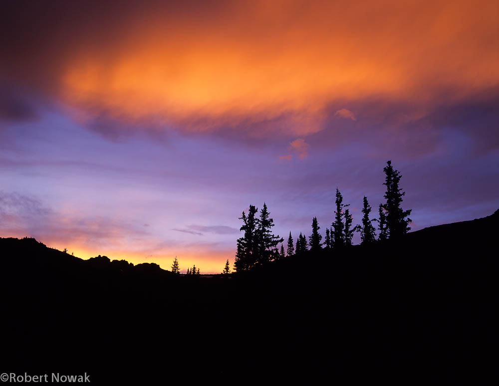 Stormy Peaks Pass, Rocky Mountain National Park, Colorado, sunset, trees, silhouetted, summer, photo