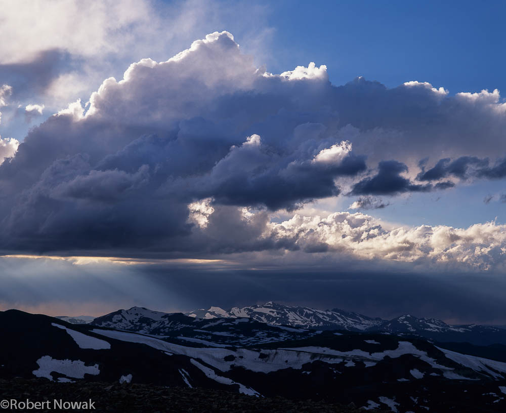 Never Summer Range, Rocky Mountain National Park, Colorado, storm, clouds, sunbeams, , photo