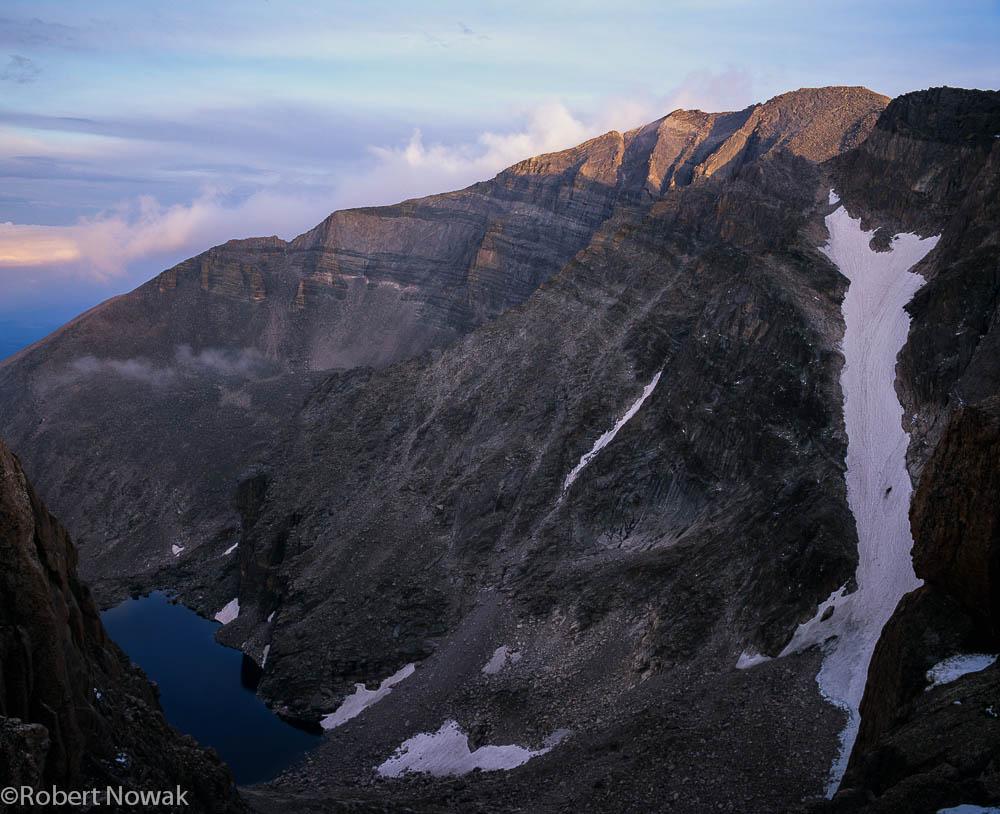 Chasm Lake and Mt. Meeker from Boulderfield on Longs Peak
