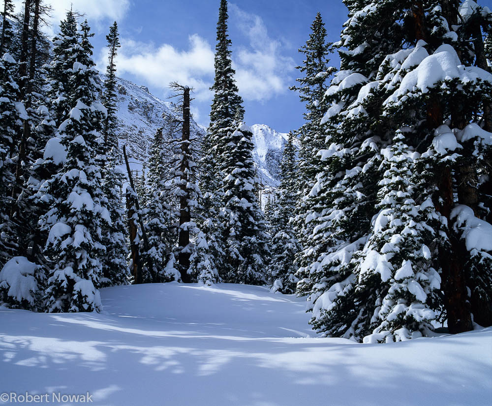 Loch Vale, Rocky Mountain National Park, Colorado, winter, landscape, snowfall, photo