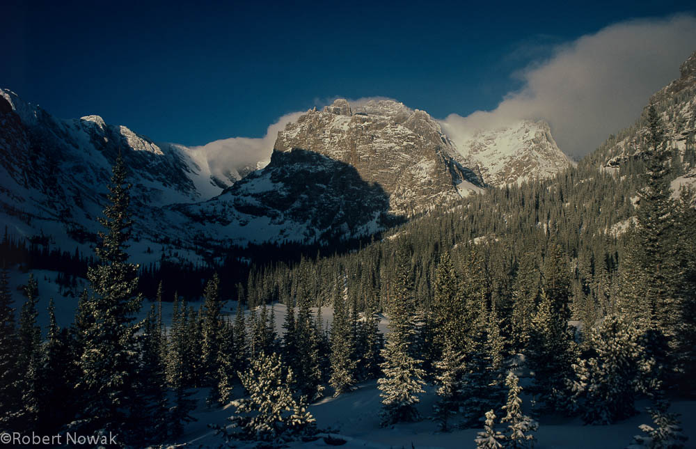 Rocky Mountain National Park, Loch Vale, Colorado, winter, sunrise, photo