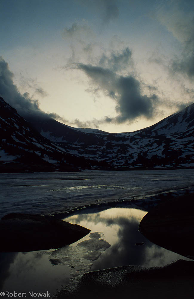 Lawn Lake, Rocky Mountain National Park, Colorado, sunset, frozen, photo