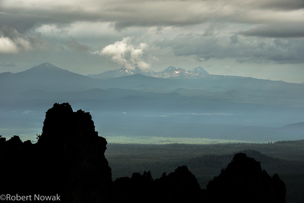 Three Sisters, Paulina Peak, Newberry National Volcanic Monument, Oregon, peaks, photo