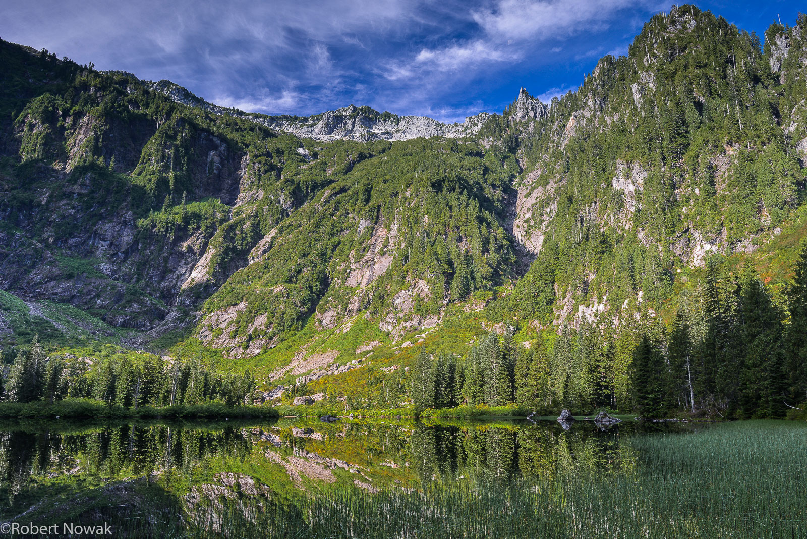 Summer morning at Heather Lake, located in a subalpine basin below Mount Pilchuck.