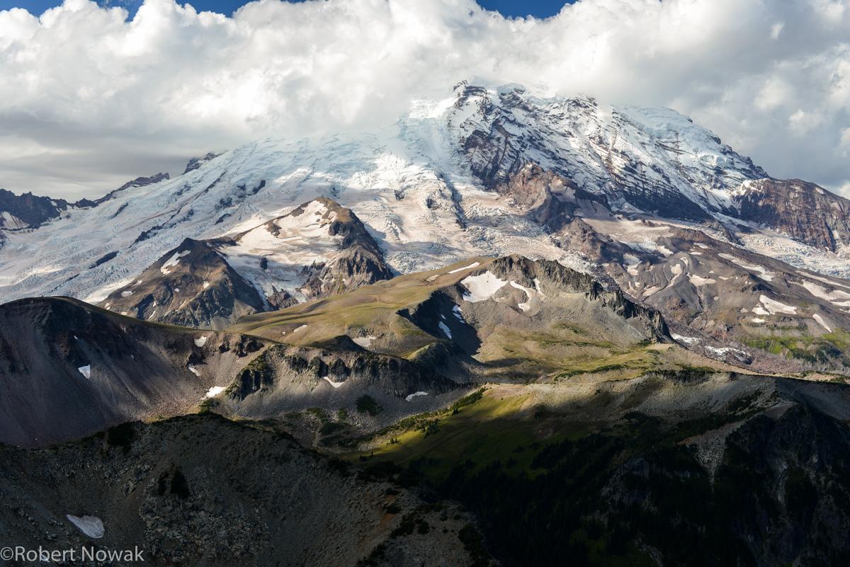 Mount Rainier, Mount Rainier National Park, Washington, summit, clouds, Burroughs Mountain, photo